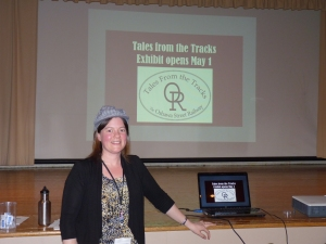 Melissa Cole after her 'engin'eous talk on the Oshawa Railway (sorry about the bad pun!)