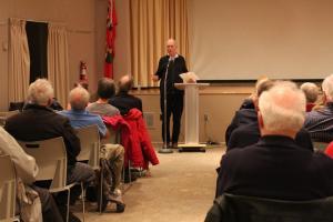 Goddard addressing the crowd