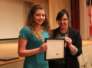 Ksenia Gayvoronskaya, left, with Community Engagement Lisa Terech