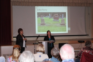 Laura and Melissa talking about John Terry and his headstone