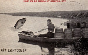 A 'Tall-Tale' Postcard, with a larger than life fish being caught in Oshawa, an example of an early manipulated image.