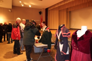 Speaking to guests after the talk - Sarah's reproduction uniforms/clothing can be seen on the right.