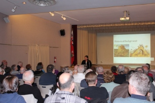 Curator Melissa speaking about Oshawa's Masonic History